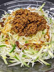 ピリ辛挽き肉のせ汁なし冷やし担々麺